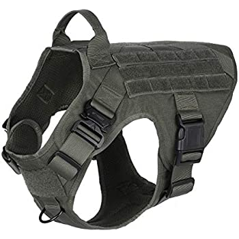 4947bc6285a2 Amazon.com : JASGOOD Tactical Dog Vest Military Harness with ...