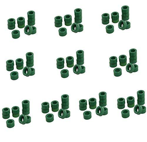 (Yohii 100 Pcs Inductor Coils Green Toroid Ferrite Cores 10mm x 6mm x 5mm Ferrite Ring Toroid)