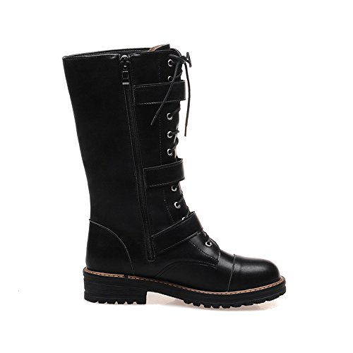 Buckle-Style Stacked Block Heel Treaded-Sole Womens Low Heel Military Boots