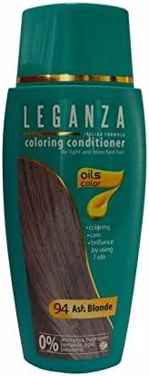 Leganza - Tinte para el cabello sin amoniaco, color rubio ceniza N94, 7 aceites naturales.