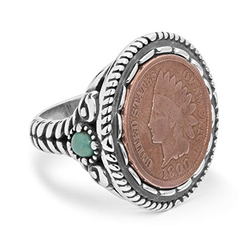 Sterling Silver Indian Head Penny Ring with Rope Border and Turquoise Accents, Size 8