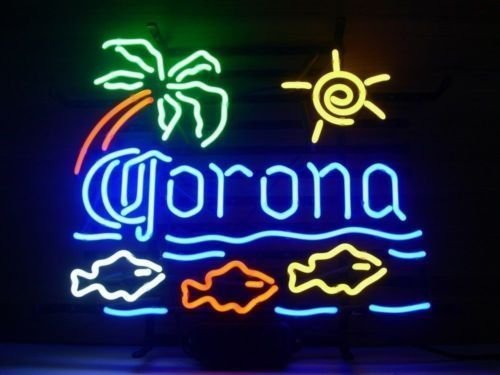 Desung Brand New 20''x16'' Corona Fish Palm Tree Neon Sign (Various sizes) Beer Bar Pub Man Cave Business Glass Neon Lamp Light DB48