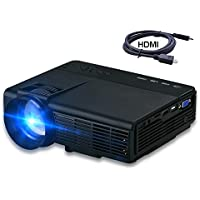 2017 Projector, Dihome HD Multimedia Video Projector Huge Screen Portable LED Projector Support Up To HD 1080P Video DHP5 Black