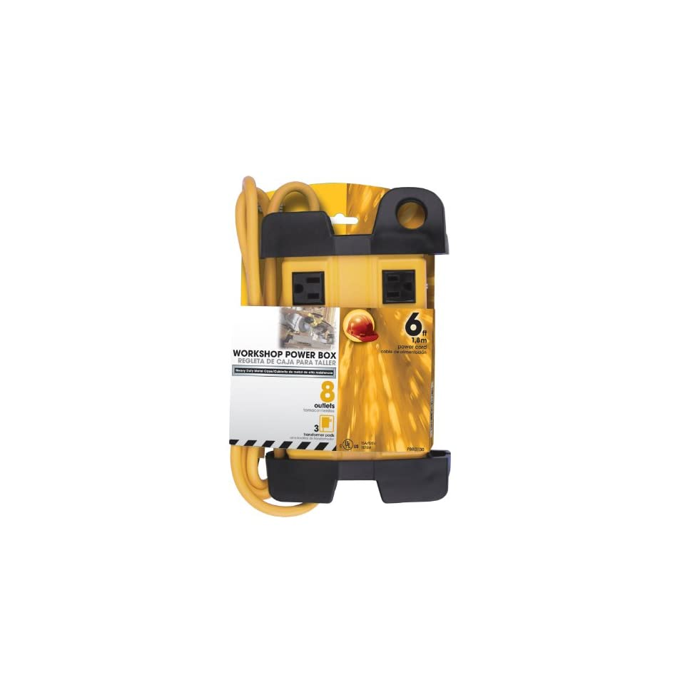 Prime Wire & Cable PB801130 8 Outlet 5+3 Metal Shop Box with 6 Foot Cord and Cord Wrap, Yellow