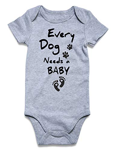 Funnycokid Toddler Baby Boys Girls' Cotton Bodysuits Every Dog Needs A Baby Newborn One-Piece