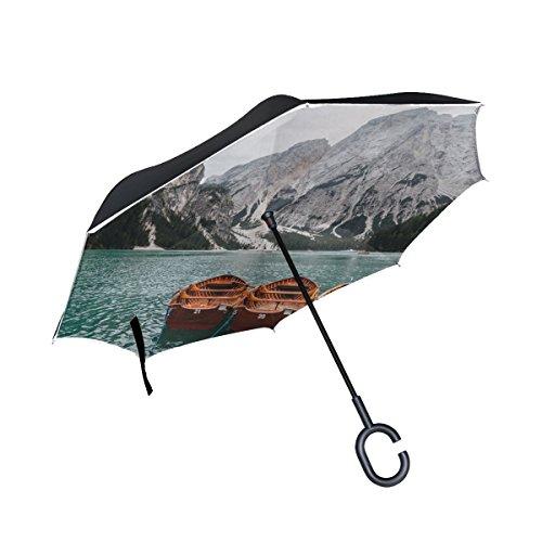 RH Studio Inverted Umbrella Boats Mountains Lake Large Double Layer Outdoor Rain Sun Car Reversible Umbrella by RH Studio