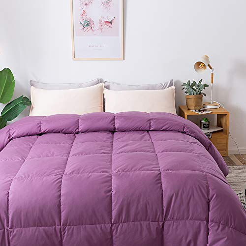 WhatsBedding 100% Cotton Down Comforter Purple Goose Duck Down and Feather Filling,Hypoallergenic. All Season Duvet Insert or Stand-Alone Comforter (Purple Queen) ()