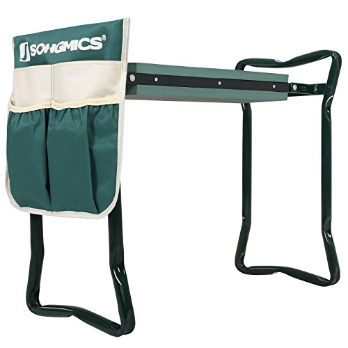 SONGMICS Garden Kneeler Seat with Upgraded Large Tool Pouch and Soft Kneeling Pad Foldable Stool UGGK49L (Bench Pads Garden)