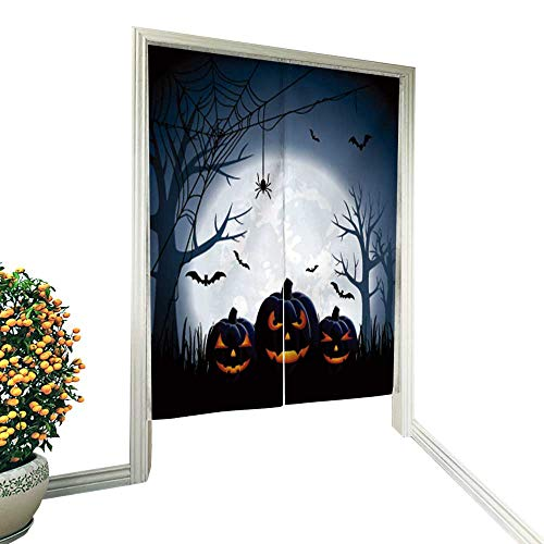 "fengruiyanjing Noren Doorway Curtain Halloween Night Background with Pumpkins, Hand or Machine wash in Cold Water 33.5"" Wx33.5 L"