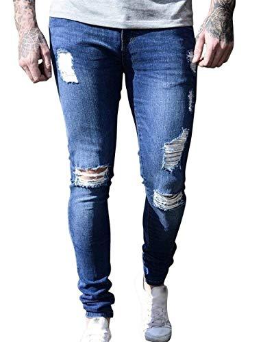 Holes Ripped Fit Denim Pants Stretch Fashion Estilo Da Especial Pantaloni Blau2 Slim Casual Designer Jeans Retro Basic Uomo p7qYPO