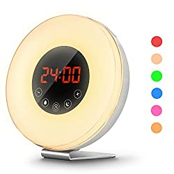 COULAX Sunrise Alarm Clock Wake Up Light and Sunlight Simulation with 6 Nature Sounds Snooze Function, FM Radio, 10 Brightness Levels, 7 Colors LED Night Light for Bedside and Kids