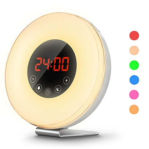COULAX Wake Up Light Sunrise Simulation Alarm Clock with 6 Nature Sounds Digital Smart Snooze Function, FM Radio and Touch Control, 7 Colors LED Night Light for Bedside and kids