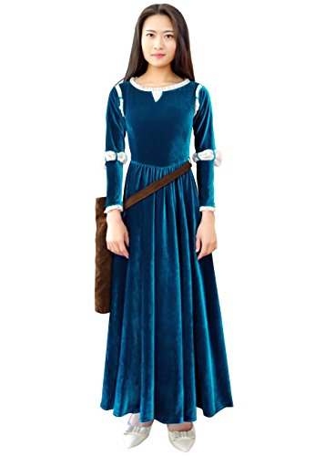 Brave Halloween Costume (DAZCOS US Size for Floor-length Brave Princess Gown Merida Cosplay Dress and Quiver (Women XX-Large))