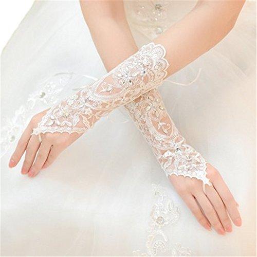 Newdeve Fingerless Rhinestone Sequins White Bridal Lace Gloves for Women (White)