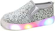 USANDY Girls' Light up Sequins Shoes Slip-on Flashing LED Casual Loafers Flat Sneakers (Toddler/Little