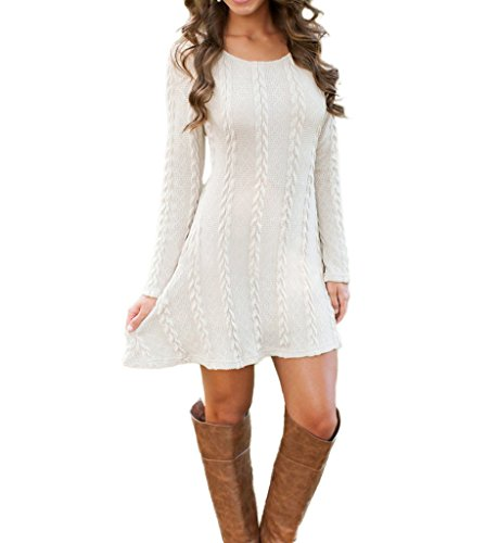 Mansy Womens Knitted Crewneck Sweater Dress White X-Large (Dresses Boots Sweater)
