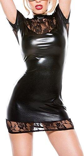 Rozegaga Womens Sexy Lace Top Keyhole Open Back Faux Leather Mini Party Dress Lingerie Small (Vinyl Mini Dress)