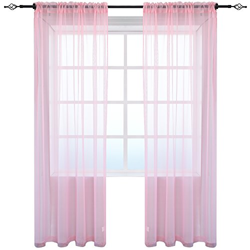 KEQIAOSUOCAI 2 Pieces Solid Color Sheer Rod Pocket Curtains Panels for Bedroom Living Room(Pink,52Wx84L,Set of 2)