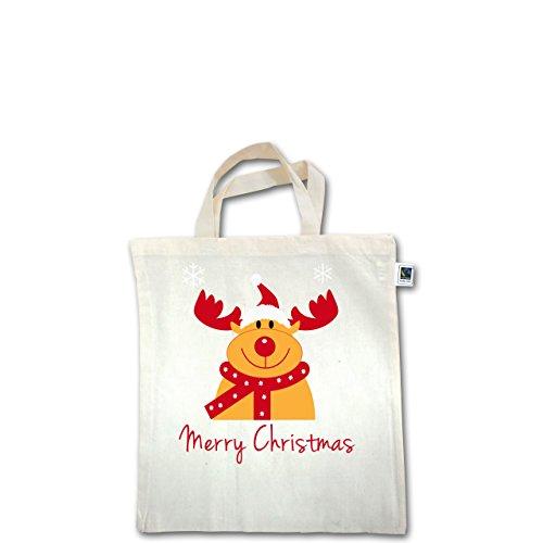 Weihnachten & Silvester - Merry Christmas Rentier - Unisize - Natural - XT500 - Fairtrade Henkeltasche / Jutebeutel mit kurzen Henkeln aus Bio-Baumwolle