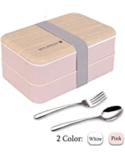 Original Bento Box Lunch Boxes Container Bundle Divider Japanese Style with Stainless Steel Utensils Spoon and Fork (Pink)