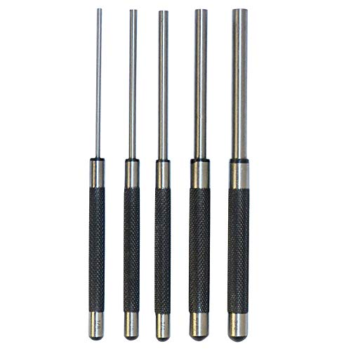 5 Pc Steel 8'' long Drive Pin Punch Set Knurled body Punches Tool Set