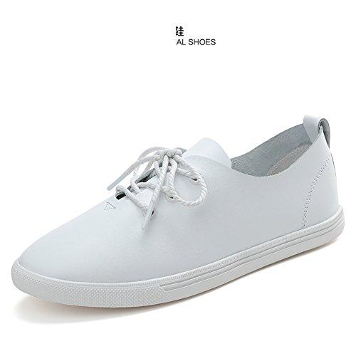 bianche Di Per Da Con scarpe Scarpe Cuoio Spesse Suole Casual Primavera pelle Donna Piatta Bianco Lampeggia Signore A Piccole Sqx18Cp