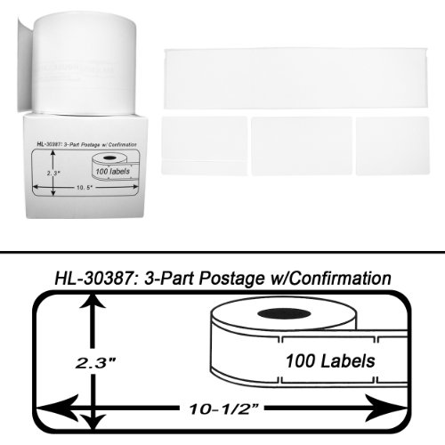 Part Internet Postage Labels (Houselabels 2-5/16 x 10-1/2 Inches Dymo-Compatible 30387 3-Part Internet Postage Labels, 1 Roll, 100 Labels per Roll)
