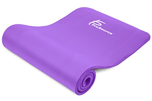 ProSource Premium 1/2-Inch Extra Thick 71-Inch Long High Density Exercise Yoga Mat with Comfort Foam and Carrying Straps, Purple, Frustration-Free Packaging (Mat Comfort Foam)