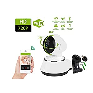 HD 720p Wireless WiFi IP Camera Webcam Baby Pet Monitor CAM Pan Remote Home Security – Two-Way Audio & Night Vision with Camera Mount (Retail Packing)