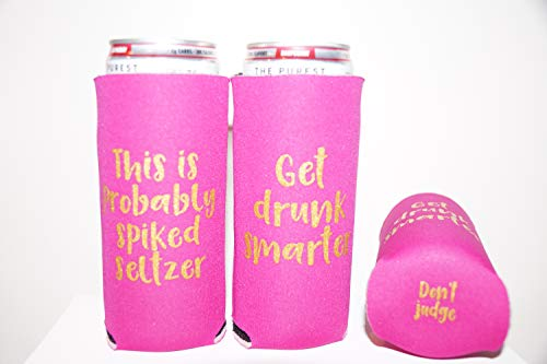 Slim Can Cooler/Sleeve, Funny, for 12 oz White Claw, Spiked Seltzer, Smirnoff, Truly/Great for Holidays, Events, Parties, Independence Day (1 pink, 1 purple)