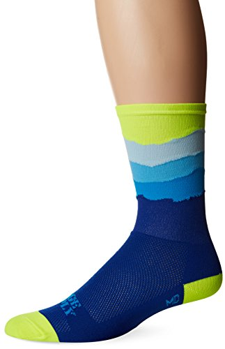 Defeet Skyline Top Socks, Hi-Vis Yellow/Blue, - Socks Cycling