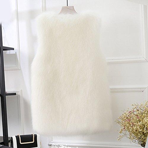 Mi Manteau Fausse Sans Gilet Fourrure Veste long Blouson Blanc Manches CHENGYANG Femmes Hiver wxYTHqq8