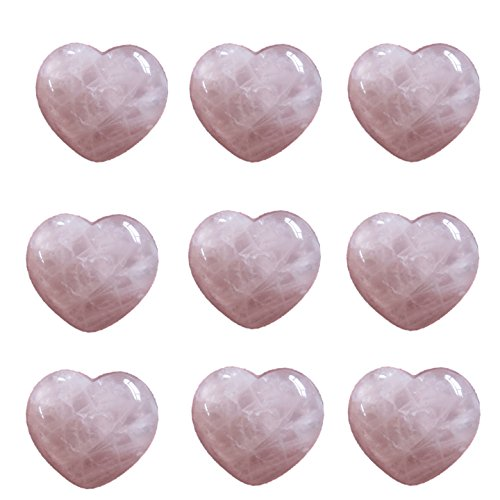 Pink Rose Quartz Heart Crystal Natural Healing Stone Chakra Pink Raw Love Specimens Pretty Carved Huge 1 Pocket Puffed 50mm (Rose Quartz Puffed Heart)