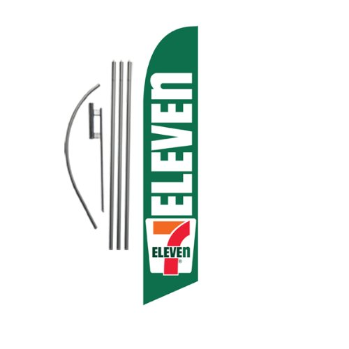 7-eleven-7-11-15ft-feather-banner-swooper-flag-kit-includes-15ft-pole-kit-w-ground-spike