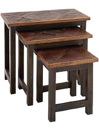 benzara the amazing wood nesting table set of 3