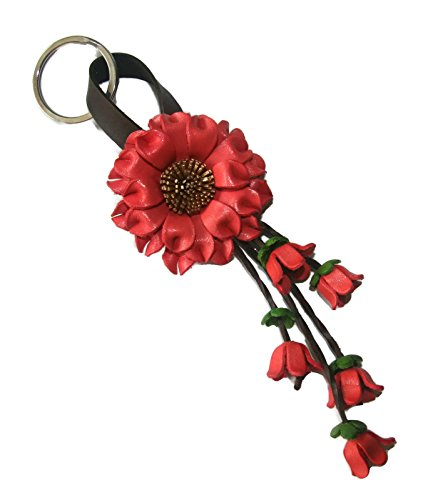 Bella Pazzo Old rose color Handmade Sunflower Flower Leather Keychain Key Ring Clasp Bag Charm Handbag Purse charm Car Key Pendant