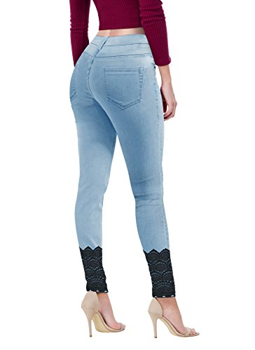 Women's Super Comfy Stretch Lace Bottom Skinny Jeans P43880SK Light WASH 7