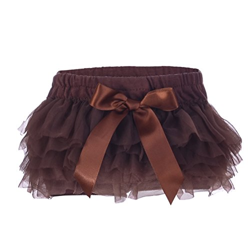 Lucky-BB Baby Girls'Tutu Bloomers Newborn Toddler Cotton Tulle Ruffle Diaper Covers with Bow Brown -