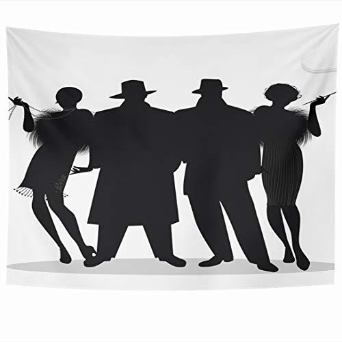 (Ahawoso Tapestry 80 x 60 Inches 20S Speakeasy Two Flapper Girls Charleston Roaring Gatsby Mafia Design Nostalgic Wall Hanging Home Decor Tapestries for Living Room Bedroom)