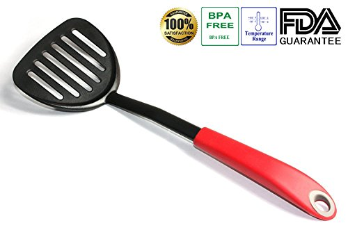 Bamboo Print Tongs (Tenta Kitchen Flexible Nylon Slotted Turner Spatula With ABS Red Handle for Fish/egg/meat/dumpling Frying)