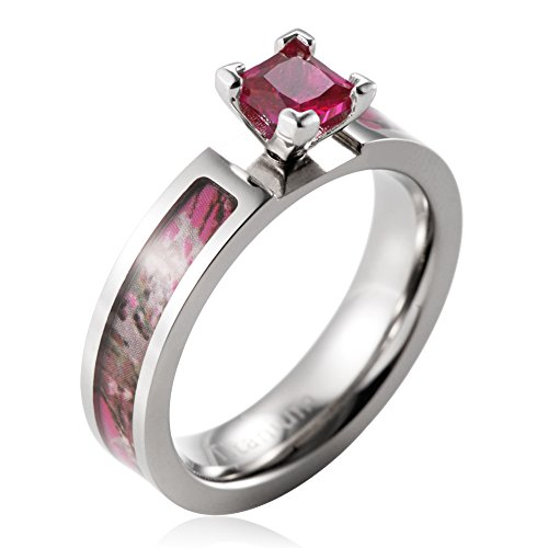 SHARDON Women's 5mm Titanium Pink Tree Camo Ring with Prong Setting Red Princess Cutting CZ Stone Size 7
