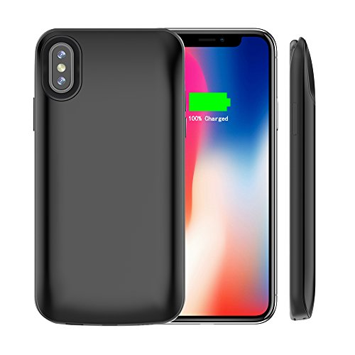 Idealforce iPhone X Battery Case,6000mAh External Magnetic Backup Power Bank Pack Battery,Portable Power Charger Protective Charging Case for iPhone x/iPhone 10 (6000mAh 607 Black)