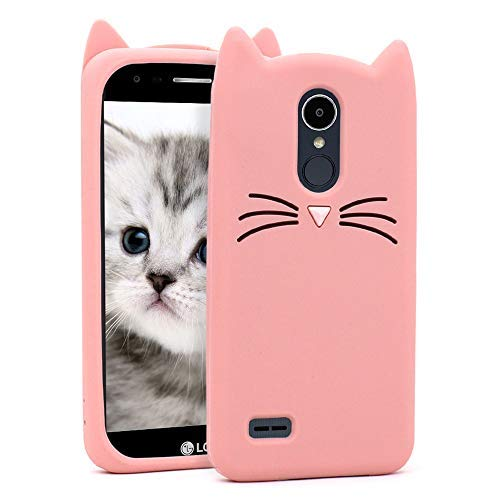 for LG Aristo Case, LG Fortune Case, LG Phoenix 3 Case, LG Risio 2 Case, LG Rebel 2 LTE Case 3D Cute Cartoon Whisker Cat Kitty Soft Rubber Silicone Protector Skin Cover LG K8 2017 (Whisker Cat Pink) ()