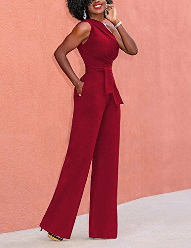 Ceinture Femme S Epaule Pantalon 1 Courte xxl Une Poche Avec De Combishort Taille Manches Été Dénudées Plage Jumpsuits Rouge Haute Feelingirl Combinaison ZBdSwqS
