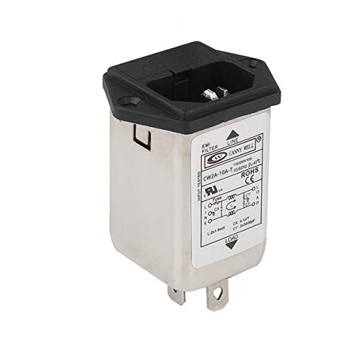 DIYhz Male Socket Panel Mount Power Line EMI IEC Inlet Filter CW2A-10A-T AC 115V/250V 50/60Hz 10A -