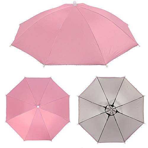 tbpersicwT Outdoor Foldable Anti-Rain Sun Shade Adult Head Umbrella Fishing Cap Headwear Sun Parasol Daily Folding Umbrella - Pink (Uk Patio Umbrella Sun)