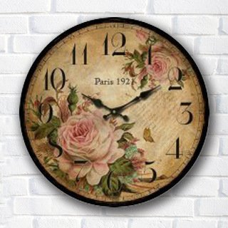Buggy redondo decorativo pared clock-shabby Chic Floral Patchwork – Reloj Vintage relojes de pared