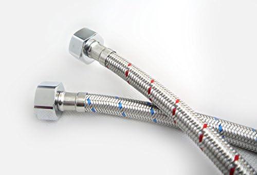 Connettori flessibili corti e lunghi per rubinetto del lavandino con miscelatore monoblocco Xcel HomeTM confezione da 2 pezzi M10 400 mm di lunghezza 2 BSP