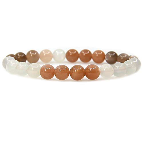 - Natural AA Multicolor Sunstone Gemstone 8mm Round Beads Stretch Bracelet 7