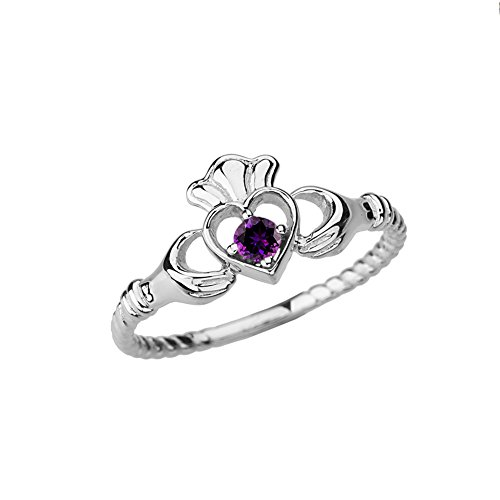 Dainty 14k White Gold Open Heart Solitaire Amethyst Rope Claddagh Promise Ring (Size 7)
